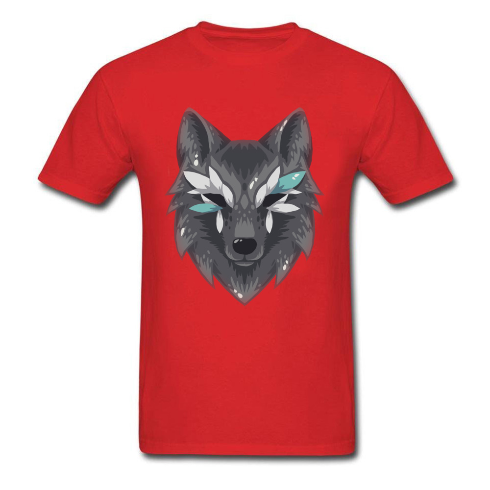The Wolf Men Graphic Normal Tops & Tees Round Collar Summer Fall 100% Cotton Top T-shirts Design Short Sleeve T Shirts The Wolf red