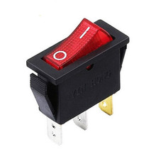 1PCS KCD3-101N KCD2 16A/250V red rocker switch with lamp rocker switch 3 foot 2 stalls