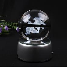 2017 New Design Pokemon Ball Mega Charizard Crystal Ball with Gift Box and LED Base