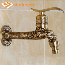 Free Shipping Extend Washing Machine Faucet Bibcocks Cold Water Tap Antique Brass(China)