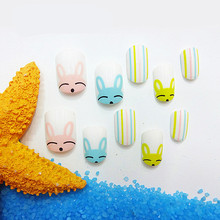 New Rabbit Pattern Kids False Nail Tips Cute 24pcs Cartoon Full Cover Short Fake Nails with Glue Children Girls Show Nail Art