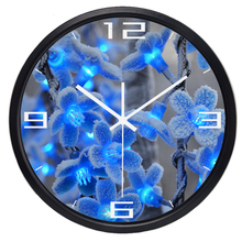 Plum Flower Blue Electronic Light Photo Wall Clock Hot Fashion Silent Large Living Room Wall Clock Home Decor(China)