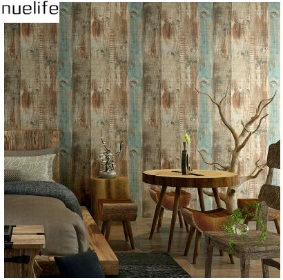 American  colorful restoring ancient ways is peeling wood grain clothing store stripe wallpaper  bar restaurant wallpaper<br><br>Aliexpress