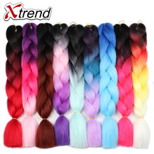 Xtrend Ombre Kanekalon Jumbo Braids Hair 24inch 100g Synthetic Crochet Braids Hair Extensions Fiber For Women Pink Green Blue(China)