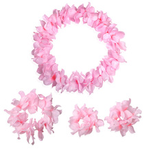 4 pcs/set Fashion Festival Wedding Party Decorations Supplies Hawaiian Luau Petal Leis Party Beach Tropical Flower Necklace(China)