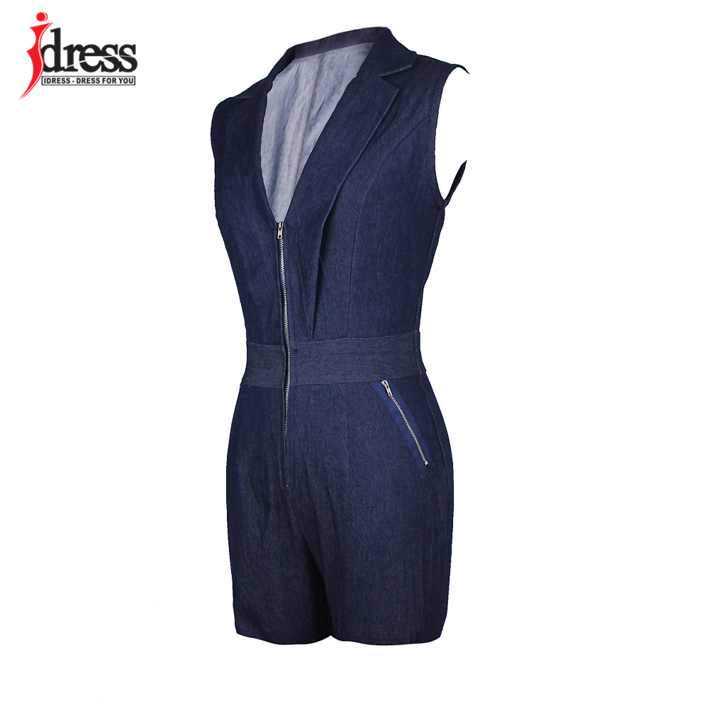 IDress Summer Deep V Neck Zippers Women Denim Playsuit Sleeveless Pockets Short Pant Ladies Bodycon Jumpsuit Party Romper Overall (10)