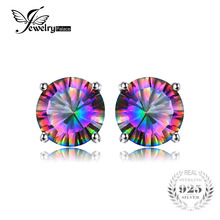 JewelryPalace 1.6ct Mystic Rainbow Topas Earrings Stud 925 Sterling Silver Jewelry Concave Round Women Earrings Brithday Gift(China)