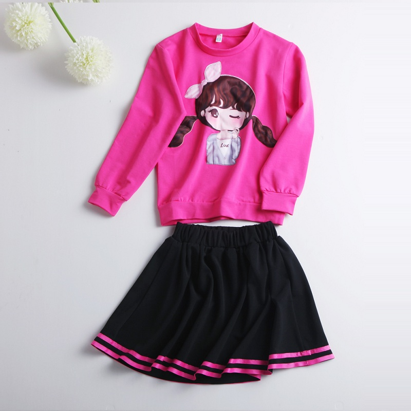 2017 Childrens Spring Summer Autumn Clothing Set Costume For Girls Pink Hoodies+Black Skirt Casual Tracksuit For Children Girl<br><br>Aliexpress