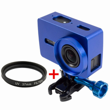 Orbmart Protective Aluminum Frame Case + Lens Cover + 37mm UV Filter For Xiaomi Yi 2 4K Xiaoyi 2 Sport Camera Accessory