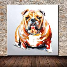 100% Handmade Decor Works Abstract Animal Modern Wall Art Pictures Lovely Dog Oil Painting On Canvas For Wall Decor Artworks(China)