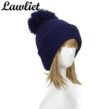 Lawliet Women Knitted Hats Cotton Winter Beanies Hat Cap Pom Pom Hat for Girl Female Warm Acrylic Skullies Ski Cap Purple Blue(China)
