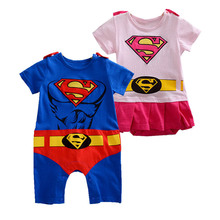 Toddler Superhero Costumes Infant Girls Boys Set Superman Supergirl Batman Romper Bebe Superheroe Cloak Superman Baby Outfit(China)
