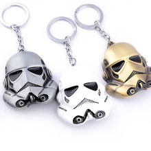 "3 Colors Movie ""Star Wars"" Keychain Rebels Stormtrooper Helmet Storm Trooper Pendant Key Chain Novelty Mask Superhero Keyring"
