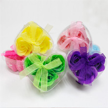 2box/6pcs Beautiful Scented Rose Flower Petal Body Bath Soap in Heart Box Wedding Favor Color Random