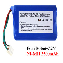 7.2V 2500mAh Vacuum Cleaner Battery NI-MH Power Tool power source for mint 5200 5200C irobot Braava380t with NTC PTC protection
