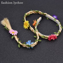 fashion lychee Trendy Design Flower Women Girls Braided Plaited Wig Hairband Fashion Hair Curls Accessories(China)
