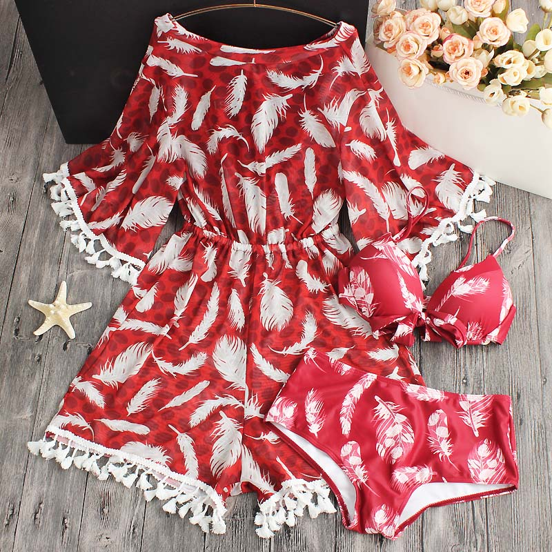 2018 Women Sexy Bikini Ladies Floral Printed Swimwears Female Halter Bikinis Set Swimsuit Women Dress Low Waist Bathing Suit<br>