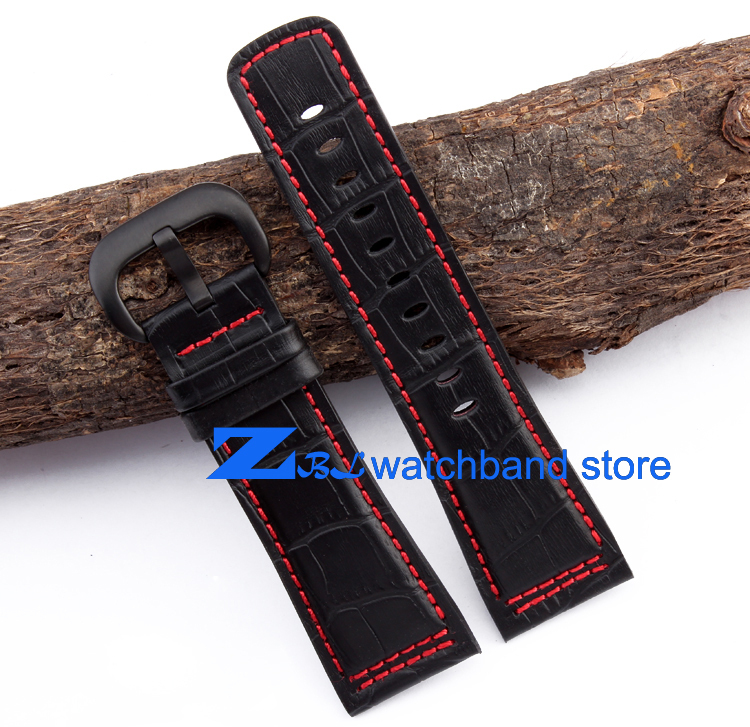The high quality Leather Watchband 28mm Black with red stitched Strap for Friday Men Watch watch band accessories<br>