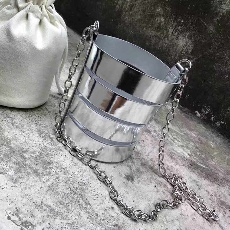 Womens personalized fun barrel shaped mirror laser bucket bag silver shinning hallow patchwork shoulder bag chain crossbody bag<br>