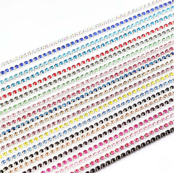 David accessories 3mm Rhinestone Cup Chain Glass Clear Crystal Trims 1m,Apparel Sewing Supply DIY Beauty Accessories,1Y48624