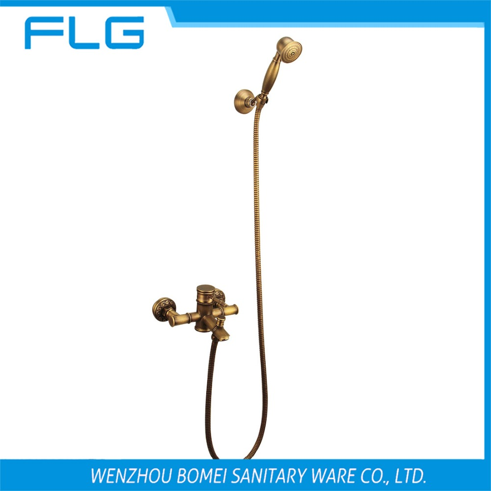 Free Shipping HS005 Wall Mounted Single Handle Antique Brass Wall Mounted Faucet With Shower Head, Solid Brass Shower Faucet<br><br>Aliexpress