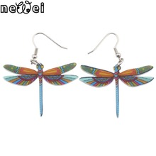 Newei Drop Dragonfly Earrings Jewelry Long Dangle Earring Acrylic Pattern Fashion For Women New Style Girl Accessories(China)