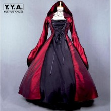 New Fashion Hot Sale Cosplay Ladies Gothic Victorian Hooded Ruffles Lolita Long Dress Costume Plus Size Free Shipping(China)