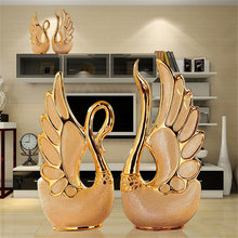 2017 Home Decor High-end Luxury Resin Ornaments Figurines Gold Couple Swan Creative Gift For Wedding TV/Wine Cabinet Decorations