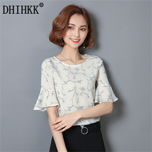 DHIHKK 2017 Fashion Women Shirt Summer Floral Print O-Neck Flare Sleeve Chiffon Blouse Petal Chiffon Office Lady Tops(China)