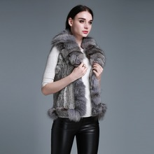 Fur Story 020118B New Women' s Short knitted real rabbit fur vest with fox fur collar and fur trim placket decoration