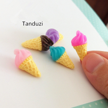 Tanduzi 20pcs Multi Color Resin Super Simulation Food 3D Cute Ice Cream DIY 1:12 Dollhouse Miniature Decoration Resin Crafts(China)
