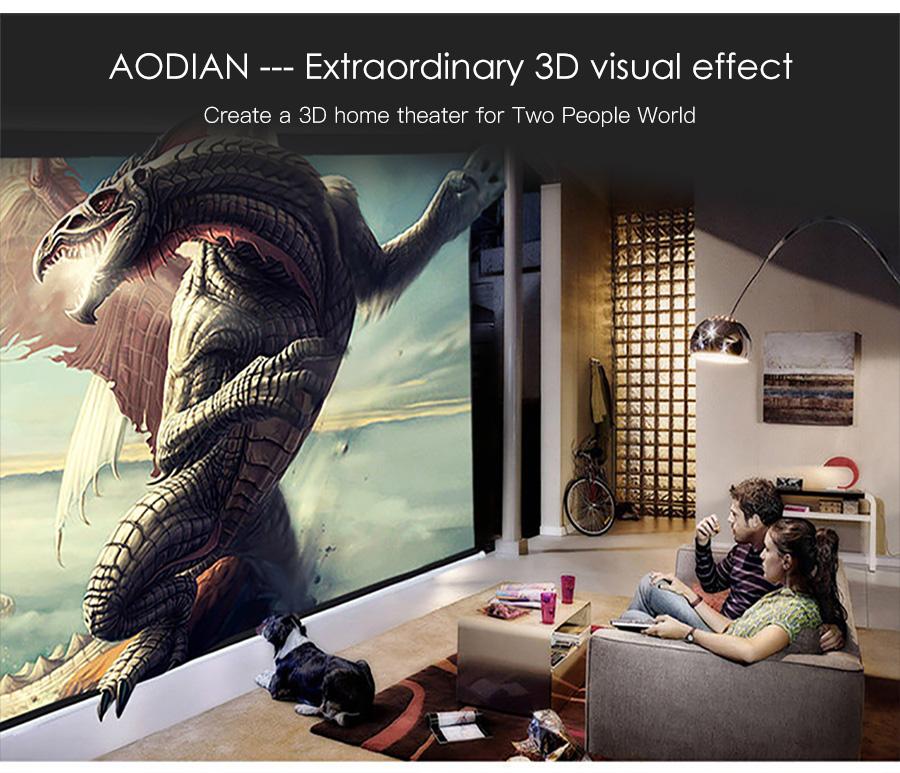 AODIAN AODIN 3D HD Mini projector DLP support 1080P video 8G pico pocket projector for home theater HDMI smart led portable projectors-24