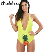 CHARMMA Halter Pineapple Plunge Swimsuit Swimwear Women One Piece Swimsuit Sexy Bodysuit Bathing 2017 Swim Wear Yellow Swimsuit
