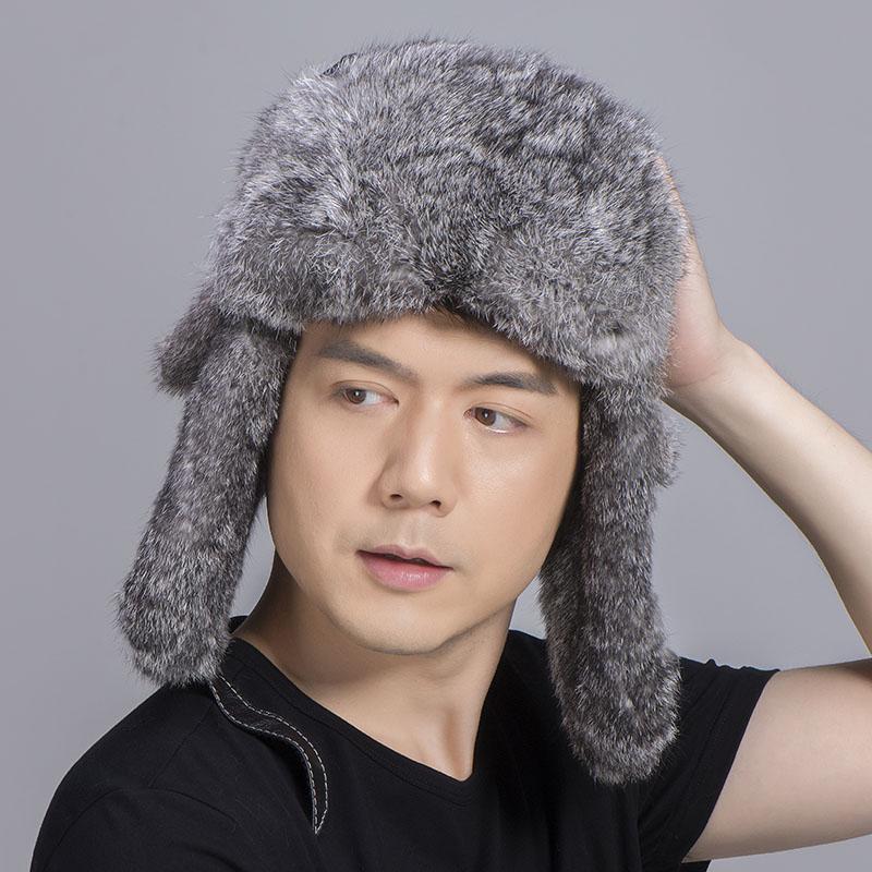 grey rabbit fur sheepskin hat 2