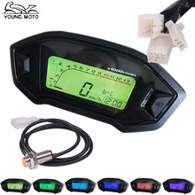 YOUNG.MOTO 1PCS 12V Universal Black Motorcycle LCD Digital Speedometer Odometer Tachometer KMH Gauge Backlight 1 2 4 Cylinders(China)