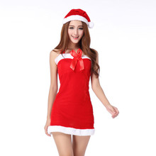 2018 Nuove Donne Sexy Babbo natale Costume Di Natale Ragazze di Partito  Outfit Fancy Abiti Bianco Fluff Guanti Di Natale Abbigli. 8cb04c27a73