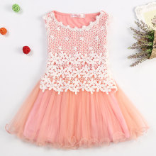 3-8 Summer New Lace Flowers Girls Dresses High Quality Child's Wear Toddler TuTu Girl Clothing Hollow Mesh Princess Kids Dress(China)