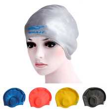 Waterproof Flexible Silicone swimming cap ear protect Long Hair Protection Swim Caps Hat Cover For Adult free shipping(China)