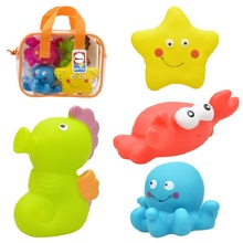 4Pcs Gift Bag Package Cute Transportation Theme Soft Rubber Baby Bath Toy Kids Swimming Toys water toys(China)
