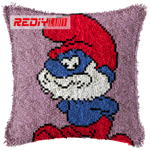REDIY LADIY Latch Hook Cushion Kit Yarn for Embroidery Cushion Cover Red Dwarf Pillow Case Sofa Cushion Home Decorative Pillow