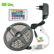 RiRi won SMD RGB LED Strip Light 5050 led Lamp 5M 30leds/m diode Flexible Leds strip 24keys wifi controller DC 12V adapter set