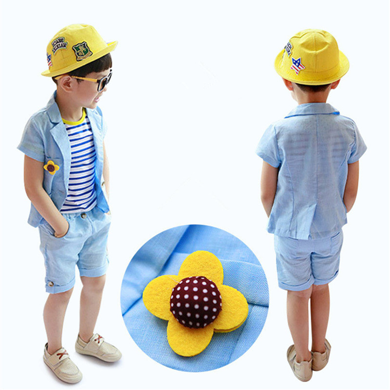 Hote Sell Summer  2017 Children Boys Clothing Sets Fashion Blue Cotton Blazer Coat+Striped Shirt+Pant 3pcs Set Casual Suits 2-7Y<br><br>Aliexpress