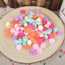 100 Pieces Mixed Color Flatback Flat Back Resin Flower Rose Cabochon Kawaii DIY Resin Craft Decor Scrapbooking Accessories 12mm
