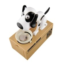 Dog Puppy Hungry Bank Coin Eating Save Saving Canine Money Boxes Home Decoration(China)
