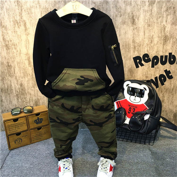 Retail 2017 New Children Clothing Sets Kids Boys Clothes Outfits Cotton Hoodies Camouflage pants Clothing Set WYY07<br><br>Aliexpress