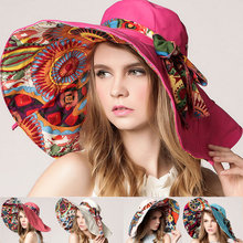 Fashion Women Flower Folding Brimmed Hat Sun UV Protection Summer Beach Bowknot Hats(China)