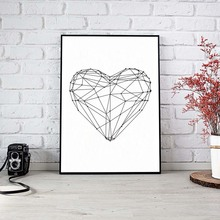 Nordic Gepmetric Heart Shape A4 Canvas Art Print Painting Poster Wall Pictures For Living Room Wall Decoration Home Decor