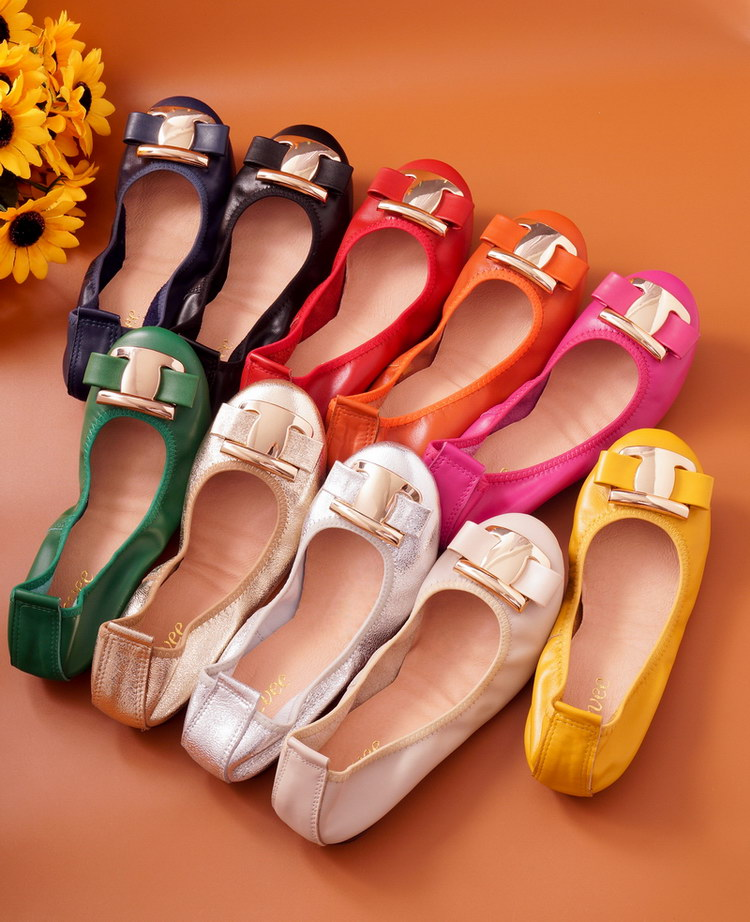 New Korean Slip On Balerinas Shoes For Womans Sweet Bow Metal Ladies Flat Genuine Leather Shoes Loafers Footwear Women Ballerina (27)
