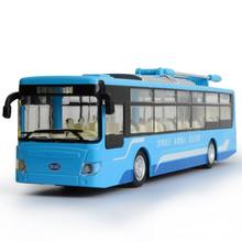 Hot simulation 1:32 Scale New energy city bus BYD K9 model diecast cars alloy pull back toys with light and sound for kids gifts(China)