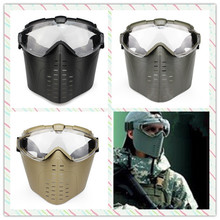 Outdoor Tactical Hunting Paintball Airsoft CS War game Anti-Fog Ventilate Goggles Full Face Electric Fan Gas Mask With Goggle